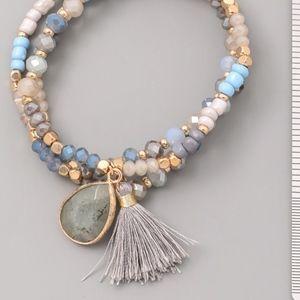 Jewelry - Set of 3 Beaded Bracelets with Pendant Tassel